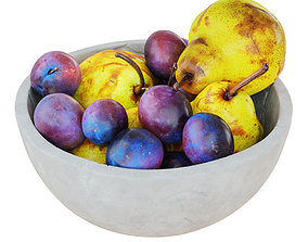 Pears And Plums In Decorative Round Vase 3D