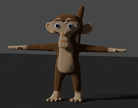 3D model rigged low-poly monkey