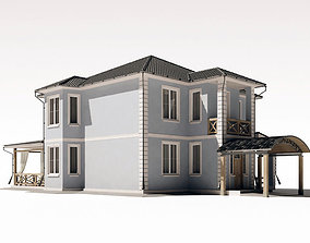 Two-storey residential building with a large terrace 3D