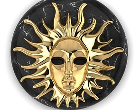 Pendant Sun Face on a round stone 3D print model