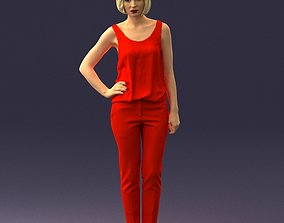 Blonde girl in red trousers 0202 3D Print Ready