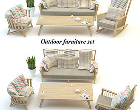 3D Outdoor furniture set