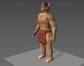 rigged game ready rigged native american model