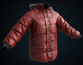 Red winter jacket 3D asset