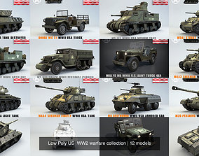 3D Low Poly US WW2 warfare collection