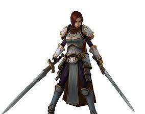 3D model Warrior with swords of fantasy