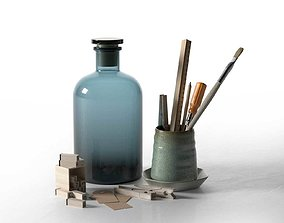 3D Composition of Drawing Accessories in Cup with Jar