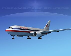 3D rigged Boeing 767-200ER American