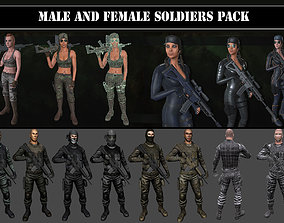 Customizable Male and Female Soldiers 3D model