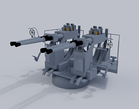 3D model 40mm Quad Anti-Aircraft Gun