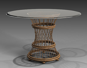 3D Aruba Glass Top Round Dining Table