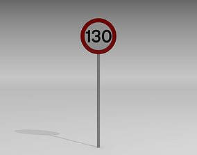3D model 130 Speed limit sign
