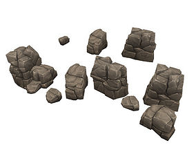 Low Poly Rock Formation 03 3D asset