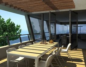 Outdoor Dining Table In A Terrace 3D model
