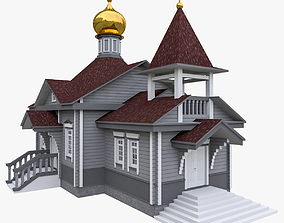 3D model historic Russian Orthodox Wood Church