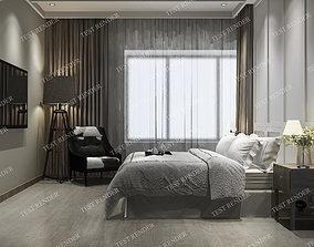 3D wood luxury vintage modern bedroom suite in hotel