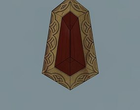 3D printable model Wooden medieval Pendant with rubin