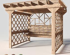 Wooden swing pergola 3D model