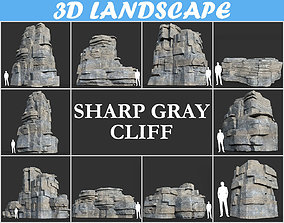 Low poly Blocky Cliff Rock Gray color Pack 181122 3D
