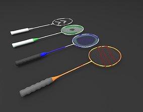 Four High Detailed Badminton Rackets 3D model