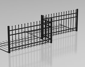 Metallic fence 04 3D