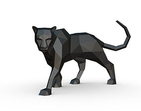 black panther low poly 3D printable model