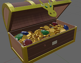 3D model Treasure Chest with Gold and Open Animation