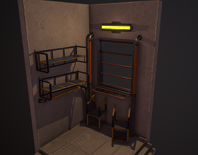 Metal Shelf and Table 3D asset