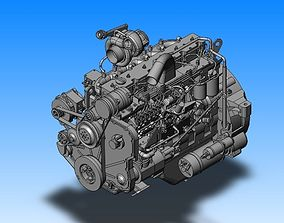 Complicated Motor Engine Parts 3D asset