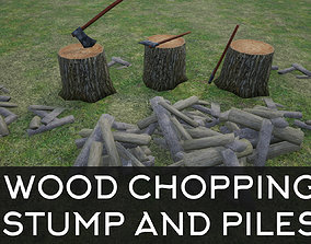 Wood Chopping Stump and Wood Piles 3D model