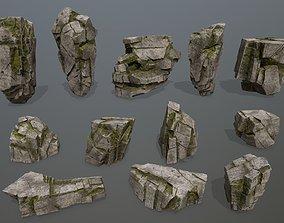 snowy 3D model realtime rocks
