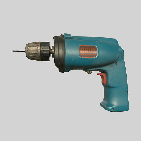 Hand Drill Low-poly 3D model