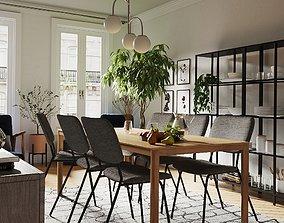 Interior Scene DiningRoom 3D model plant