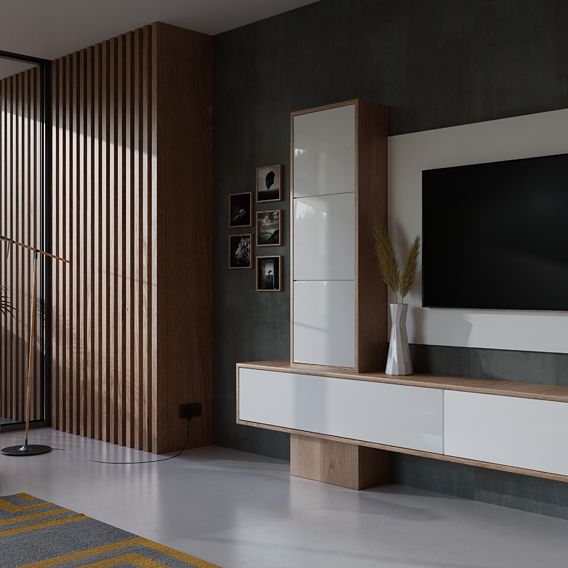 Design and visualization of furniture in a living room.