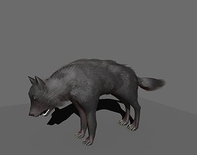 wolf rigged 3D model game-ready