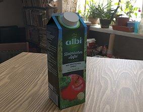 Apple juice in a tetra pak 3D model