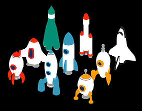 3D model VR / AR ready Space Rockets Collection