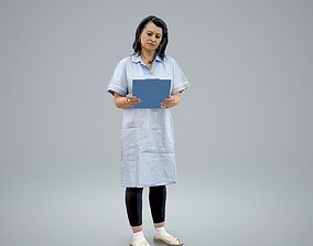 3D model Standing Nurse Reading Documents 1