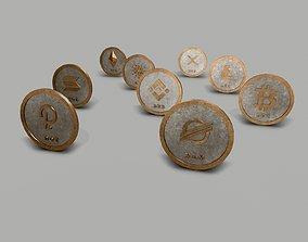 3D model Crypto Coins Set PBR