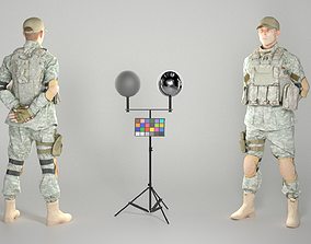 3D model Young American soldier in uniform 136