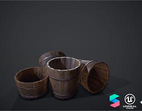 3D model Wooden buckets pack