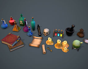 Alchemist set - game ready props 3D model