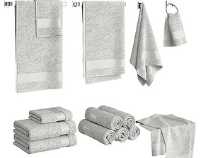 3D White Towels Set
