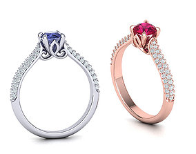 3D printable model Paris Engagement ring 4claws design 2