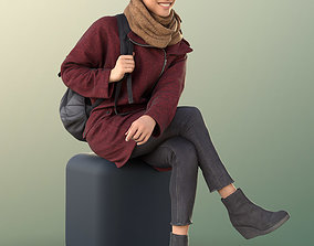 10884 Diana - Sitting Woman With Bag Smiling 3D