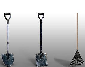 Lawn Rake Fork Shovel Tool 3D model