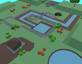 3D asset Race Track Cartoon
