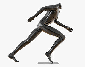 3D Black mannequin running 26