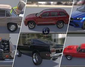 3D model Car Package Mustang Jeep Cherokee Benze 300 Sel