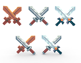 3D model Sword Set Lowpoly